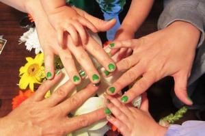 green finger nails cropped