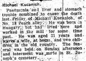 Obituary of Michael Kucanich appearing in the January 12, 1912 issue of the Duquesne Times.  Newspaper courtesy of Mifflin Township Historical Society.