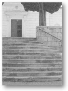 Stairs leading to St. Joseph's church in Vela Luka, Croatia.  Photo (c) 2014 Patricia J. Angus
