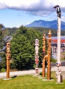 A section of Klawock Totem Park on Prince of Wales Island, Alaska.