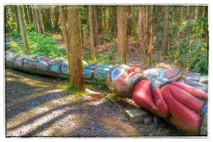 Retired Totems at Totem Bight State Park, Ketchikan, Alaska (c) Patricia J. Angus