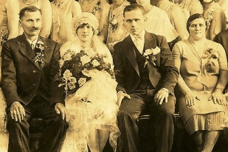Franjo and Bara Salopek of Duquesne, PA are seated next to the bride and groom in this photo.