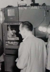 Cigarette Vending Machine at Green Gables. February 1958.