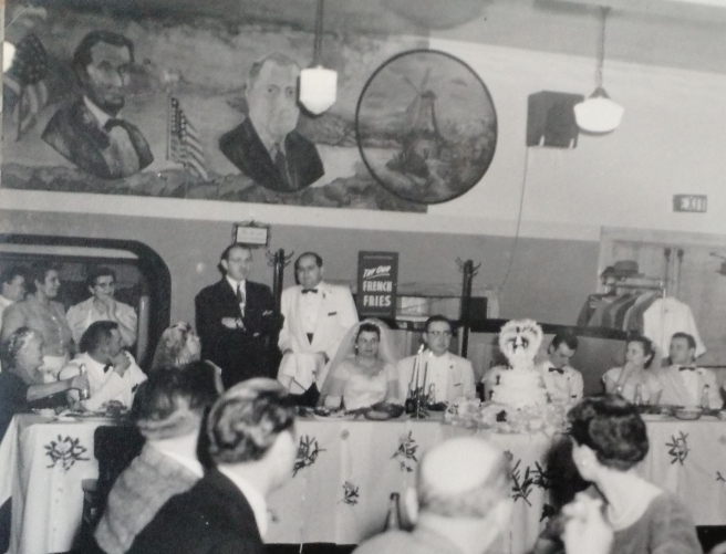 Interior of Green Gables captures the presidents mural. February 1958.
