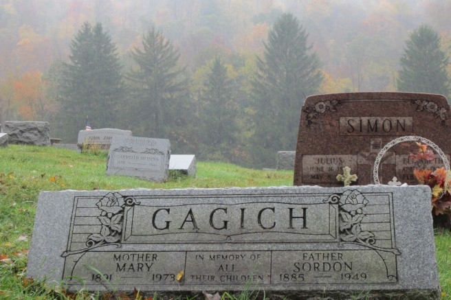 Autumn backdrop at my grandparents' graves in Western Pennsylvania (c) 2016 Patricia J. Angus